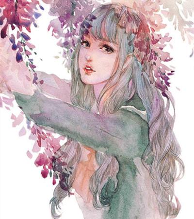 唯美女生水彩画作品欣赏