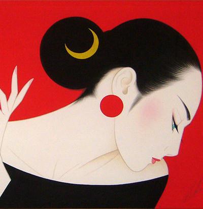 日本画家鹤田一郎东方女性版画作品赏析