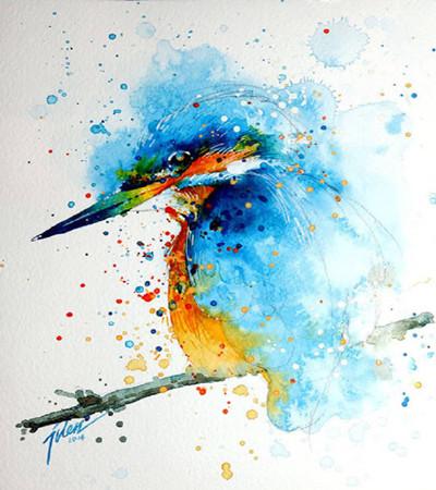 新加坡藝術家Tilen Tiu潑墨手法繪制的動物水粉畫