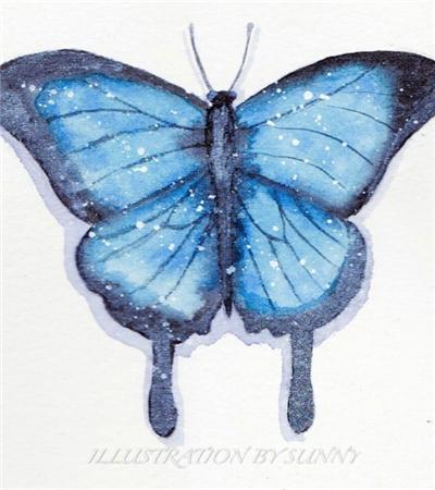 一组蝴蝶水彩画作品欣赏可临摹