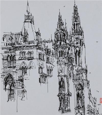 可临摹钢笔画速写建筑作品欣赏