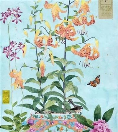 一组中国风水彩画花卉作品欣赏