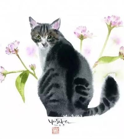 村上豊水彩画猫作品欣赏