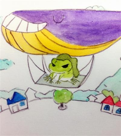 一组旅行的青蛙水彩画作品欣赏