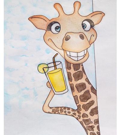 长颈鹿彩铅画_逼真的与简单的彩铅画绘画过程,百合花彩铅画怎么画-露西学画画