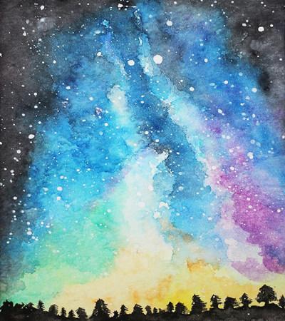 星空水彩画作品欣赏