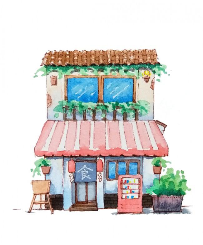 水彩插画房子
