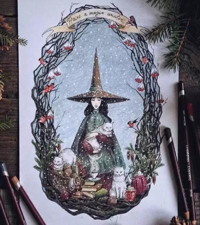 彩铅作品欣赏:让我们和童话来个约会吧!