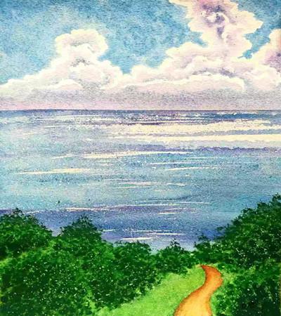 一组苍山洱海水彩风景画