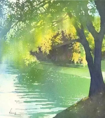 一组充满浪漫气息的日系水彩风景画