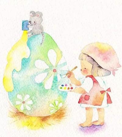 这样萌萌哒水彩插画作品,看一眼就让心暖暖的!