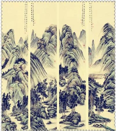 國畫作品欣賞:四條屏山水花鳥國畫