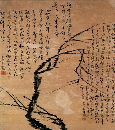 國畫作品欣賞:高翔花鳥畫《梅花圖》