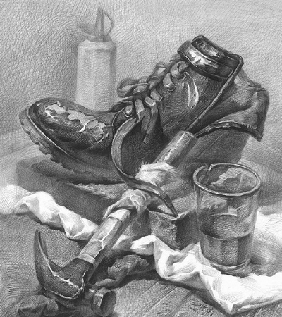 素描作品欣赏:素描静物临摹范本图集