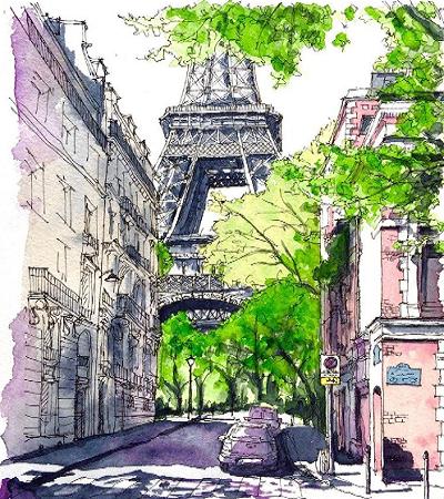 鋼筆畫作品欣賞:一組歐式建筑畫