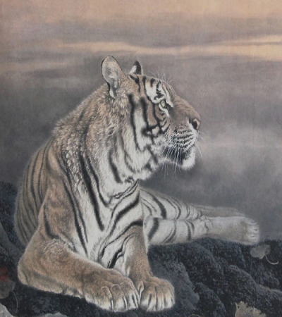 國畫作品欣賞:畫家馮大中畫的虎圖片集