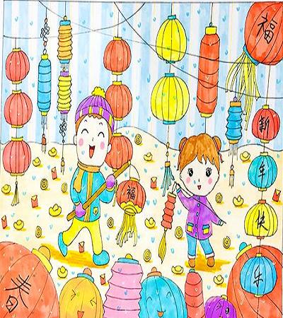 小孩提灯笼儿童画怎么画?