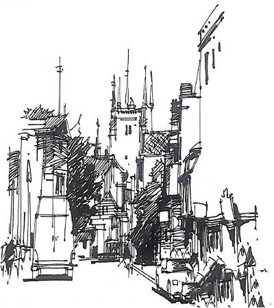建筑鋼筆畫作品欣賞,建筑臨摹圖片集