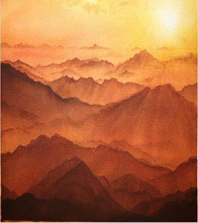 美麗的夕陽水彩畫作品欣賞
