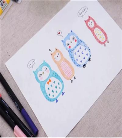 猫头鹰的版画该怎么制作?教你画一组搞怪的猫头鹰
