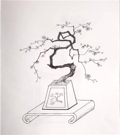 盆景钢笔画作品欣赏,如何画出让人心动的作品?