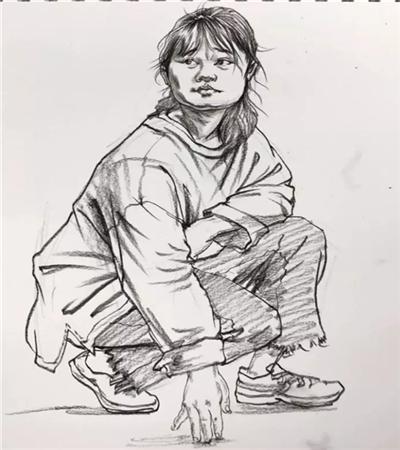 蹲著的女青年怎么畫?人物速寫步驟有哪些?