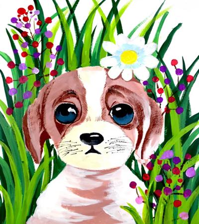花丛中的小狗怎么画?详细的水粉画过程是什么?