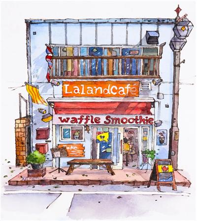 咖啡店鋪怎么畫?街頭店鋪的鋼筆淡彩教程是什么?