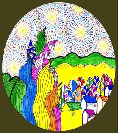 五彩月夜怎么畫?兒童畫創意畫步驟有哪些?