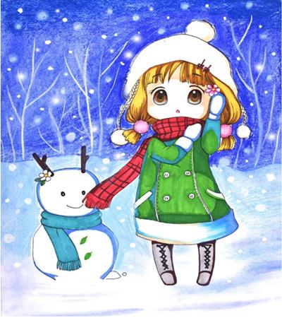 冬装小女孩怎么画?如何用色粉表达梦幻虚实的感觉?