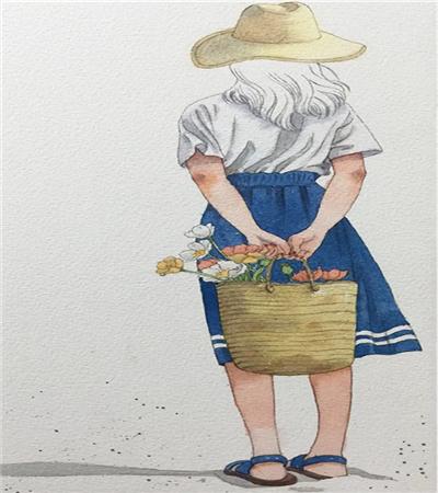 提花蓝的少女怎么画?小清新插画的步骤有哪些?