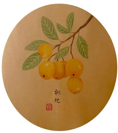 枇杷怎么画?如何画出古风彩铅芦橘?