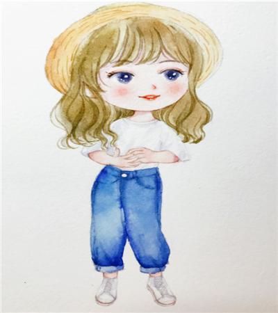 水彩小女孩怎么畫?如何畫三頭身比例?