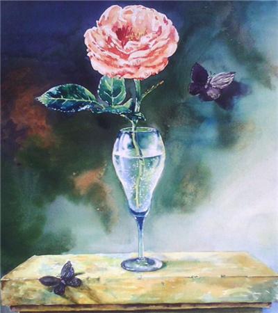 高脚杯中的粉玫瑰怎么画?水彩静物画法是什么?