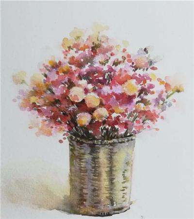 花籃怎么畫?一籃子花朵的水彩畫法是什么?
