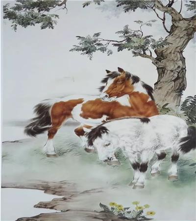 小溪旁的骏马怎么画?马儿的工笔画法是什么?