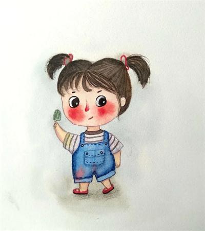 拿冰淇淋的小可爱怎么画?小胖妞儿童画法是什么?