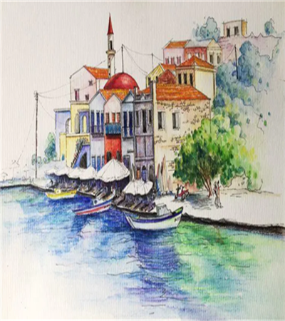海港小镇怎么画?彩铅速写风景的步骤有哪些?