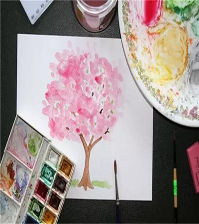 樱花树怎么画?超级简单的水彩教程分享