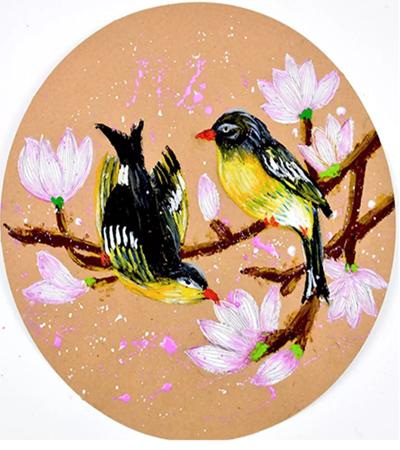鸟语花香怎么画?油画棒如何练习色彩?