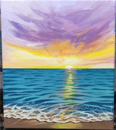 海边风景怎么画?大海丙烯画绘画步骤有几步?