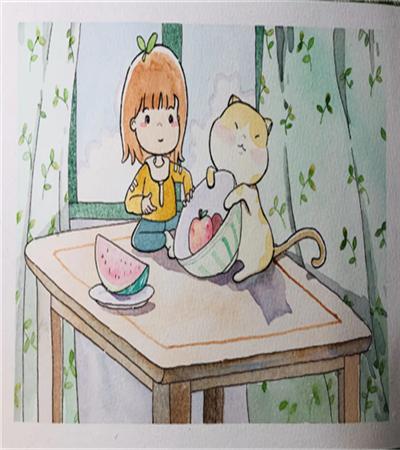 桌上的女孩和猫咪怎么画?儿童绘画步骤有哪些?
