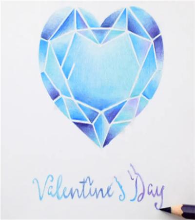 蓝钻石怎么画?海洋之心的彩铅绘画步骤有几步?