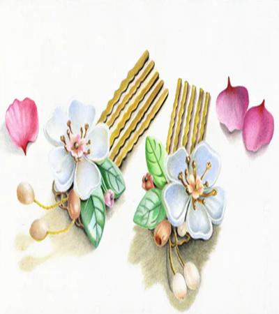 梅花发钗怎么画?超级漂亮的发钗彩铅教程分享
