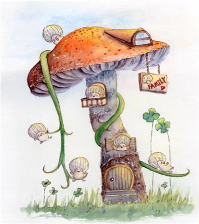 蘑菇屋怎么画?详细的水彩画步骤有哪些?