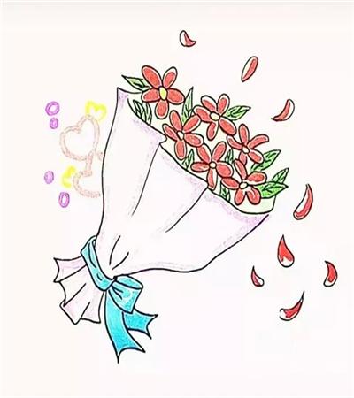 教师节花束怎么画?如何画简笔捧花?