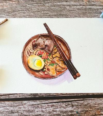 小碗面怎么画?淡彩绘画步骤有哪些?