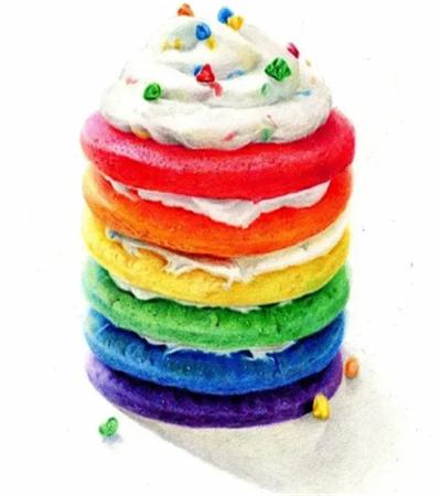 彩虹蛋糕怎么画?超级详细的蛋糕彩教程分享