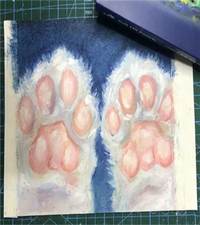 小猫的爪子怎么画?猫爪油画步骤有几步?