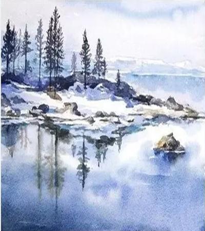河边风景怎么画?风景水彩绘画步骤有哪些?
